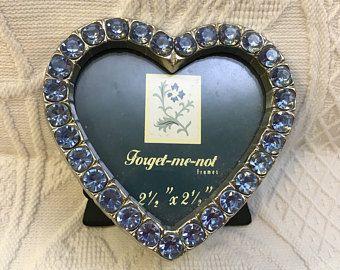 Coeur de strass en forme de cadre bleu, oubliez moi pas de cadre, cadre coeur ton argent, coeur cadre, cadre Saint Valentin