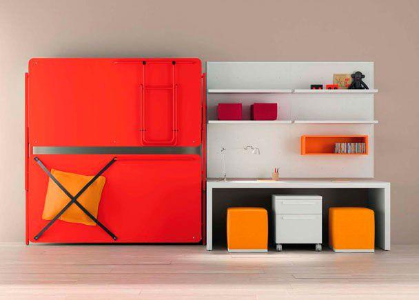 Litera abatible lacado rojo escritorio y estanterías