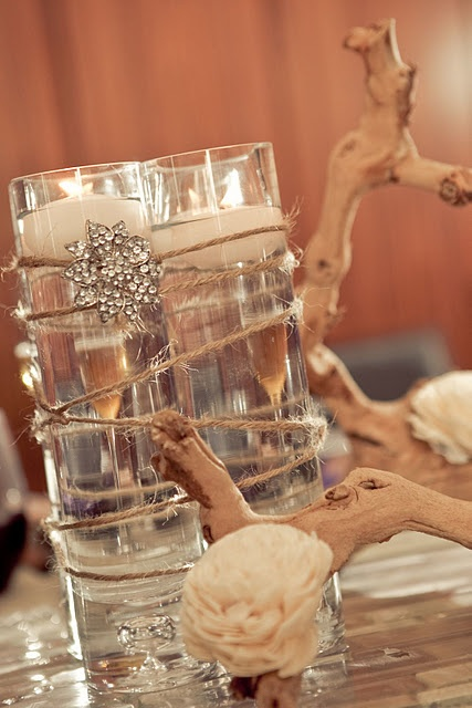 centerpiece - elegant & cost effective for a rustic wedding
