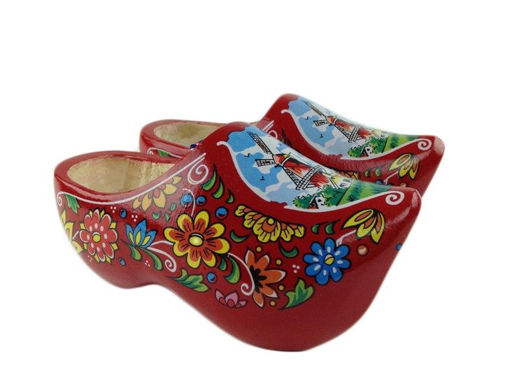 "Wooden Shoe Clogs Dutch Windmill Red Design-6.5"""