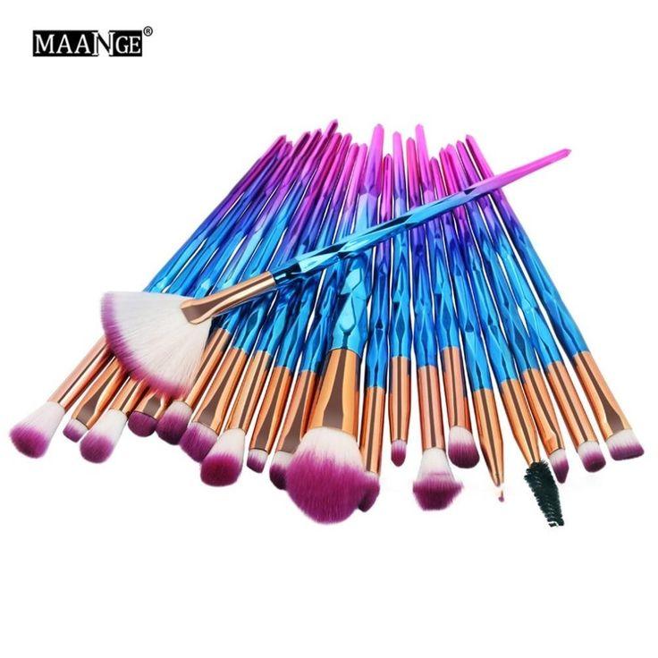 MAANGE New 20pcs Diamond Makeup Brushes Set Foundation Brush Comestic Make Up To…