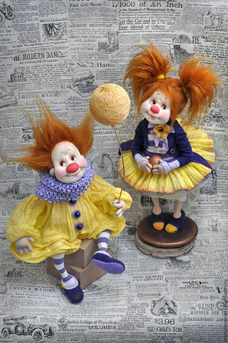 Купить Жаклин и Жак - комбинированный, клоун, клоунесса, цирк, красивая, подарок женщине, позитивный подарок