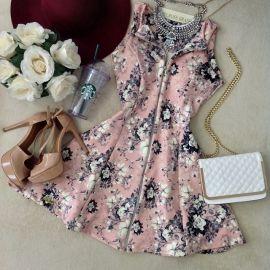 Vestido C/ BOJO Cacau No Neoprene D/ em Zíper ( Estampa Flores/ Fundo Rosê)