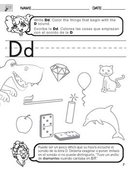 letter d sound worksheet with instructions translated into spanish for parents learning time. Black Bedroom Furniture Sets. Home Design Ideas
