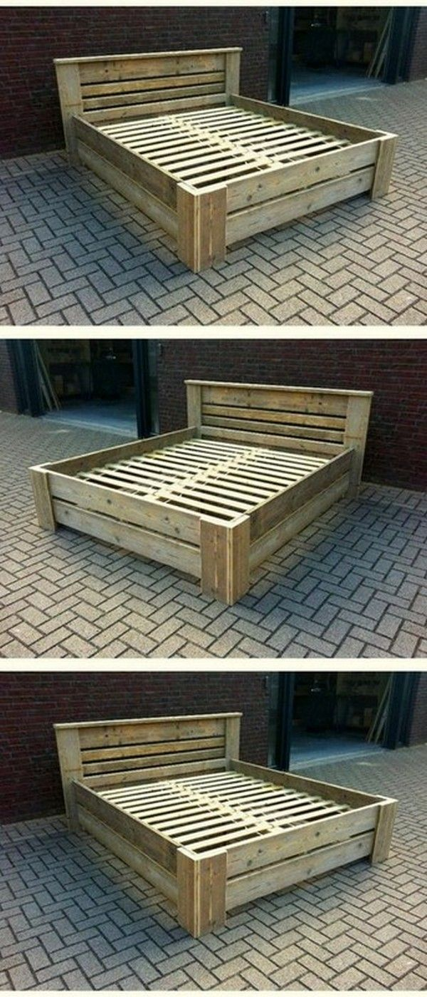 Recycling Wooden Pallet Bed Frame Idea In 2020 Wooden Pallet