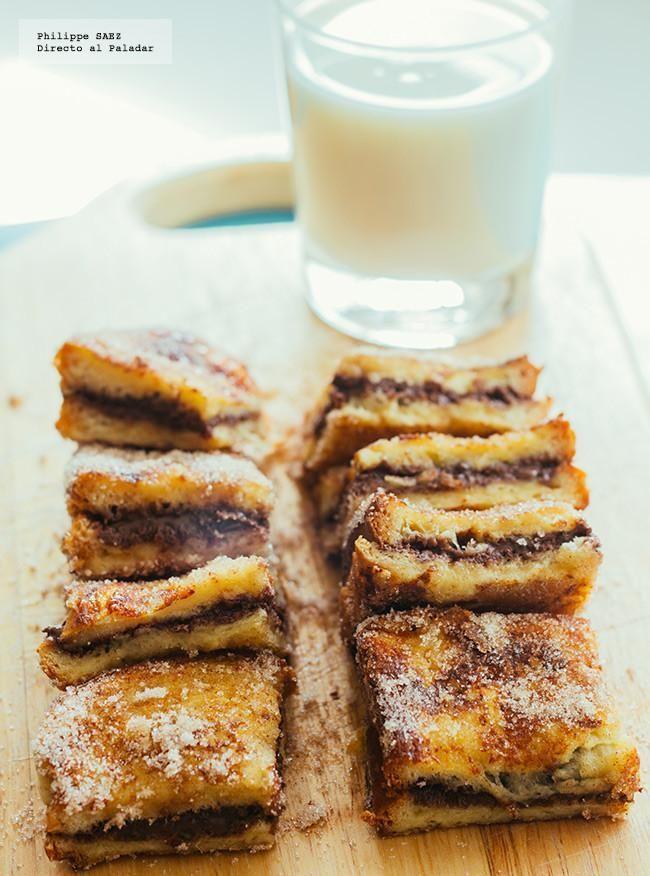 Receta de pan francés con chocolate. Receta con fotografías del paso a paso y recomendaciones de degustación. Recetas de postres y dulces para...