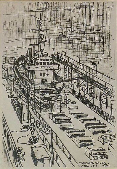 at shipyard,at dry dock.felt pen