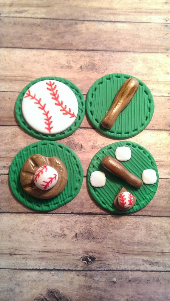Batter Up! Cute Fondant Baseballs for your next Game Party! Set of 12 (one dozen)