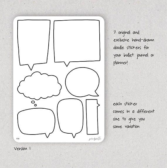 Toespraak Bubble Stickers tekstballonnen Doodle Stickers