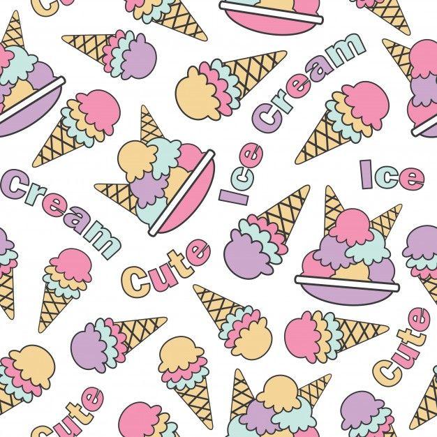 Patrón sin fisuras con cute kawaii helados vector de dibujos animados adecuado para el diseño de papel tapiz de cumpleaños de niño, papel de desecho y tela de ropa de niño de ropa Vector Premium