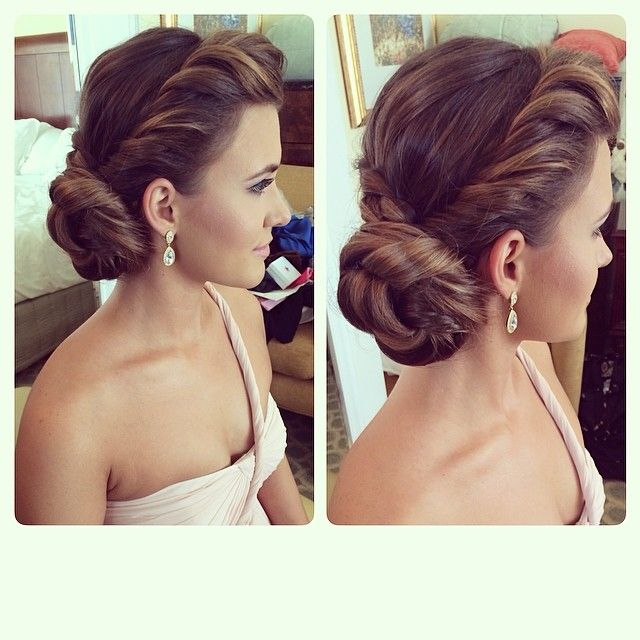 Beautiful special occasion hair! A twisted twisty chignon. So glam!
