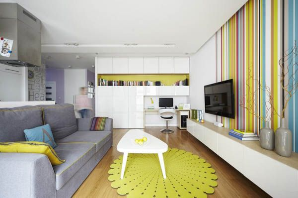 Bold Colors Defining Playful Family Apartment In Warsaw