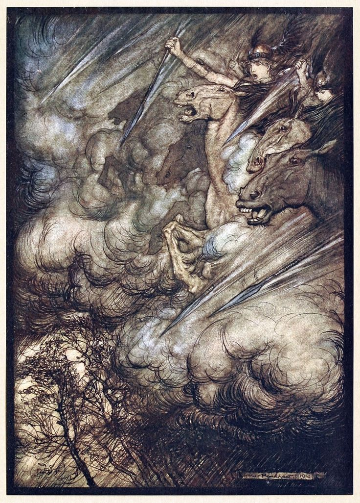 The ride of the valkyries.  Arthur Rackham, from The Rhinegold & the Valkyrie, by Richard Wagner, London, New York, 1910.