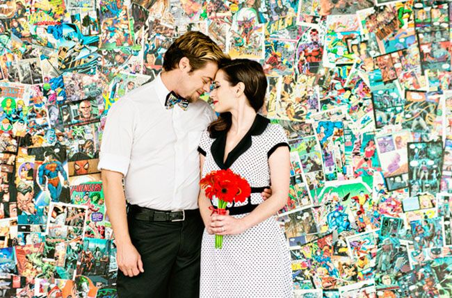 Comic Book Anniversary Photos.   @Colie DeBoer the background is made of comic books..