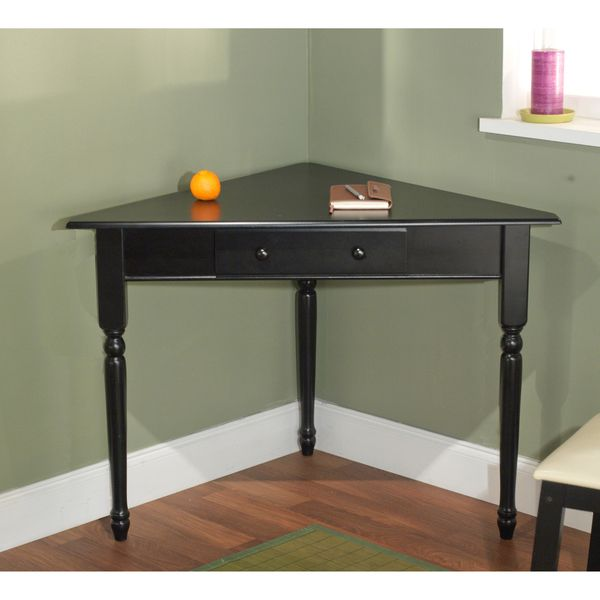 Simple Living Black Corner Desk With Turned Legs By