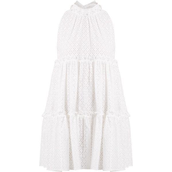 Lisa Marie Fernandez Mini ruffle-trimmed broderie-anglaise cotton... ($785) via Polyvore featuring dresses, loose mini dress, cotton dress, bow tie dress, metallic mini dress and loose dress