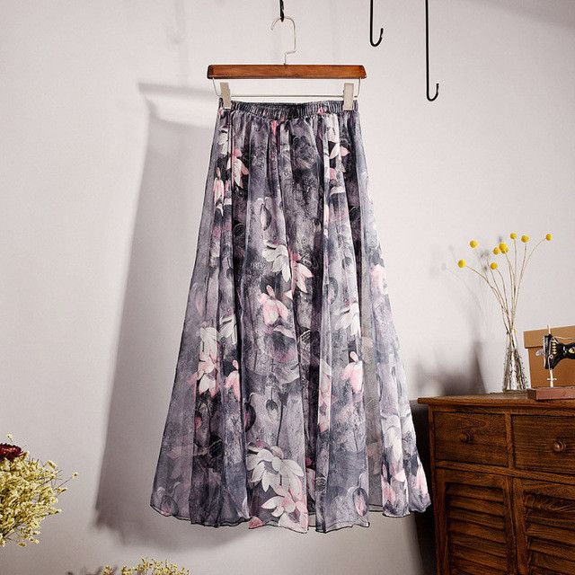 New LASPERAL Floral Printed Chiffon Skirts Women High Waist Vintage Long Skirts Female Beach Bohemian Style Summer Skirts