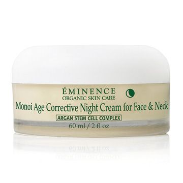 Eminence Organics Monoi Age Corrective Night Cream for Face & Neck is a deluxe moisturizer that works when you sleep to moisturize the face and neck. Mixing a professional formula of organic ingredients, Minimizing fine lines and wrinkles while sculpting loose, sagging skin.  Eminence Monoi Age Corrective Night Cream for Face and Neck is a wonderful way to go to sleep. The aroma will virtually lull you into slumber, and you'll awake with a revitalized, youthful looking skin.