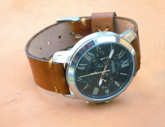 Leather Hand Made Watch Strap Watch Band Men Women by LeatherD