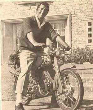 Dean Martin on a Honda Motorcycle