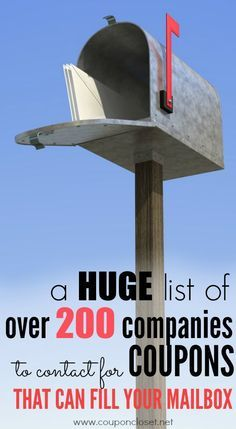 Companies to Contact for more coupons -here is a huge list of companies you can contact that will mail you coupons.