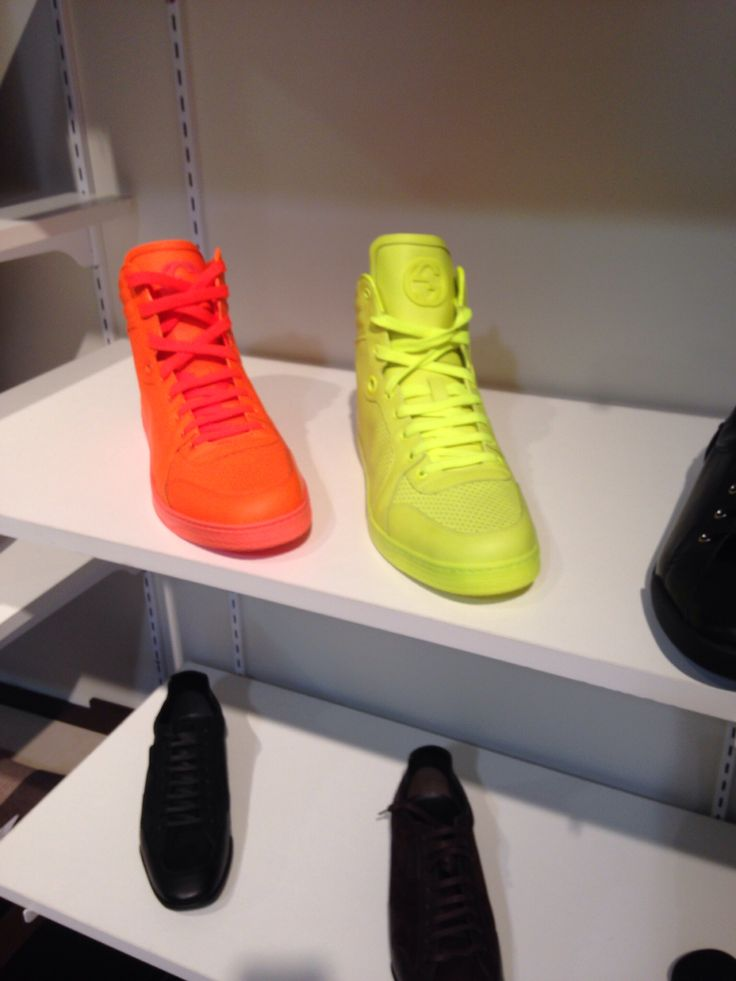 Neon colored Gucci high top sneakers!!