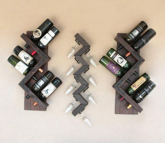 Wall Wine Glass Rack-Wood Wine Glasses Rack by AdliteCreations