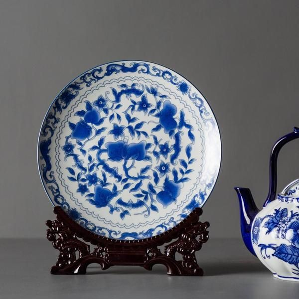 Traditional Ming Blue And White Ceramic Display Plates Can Be Displayed Alone Or In Pairs As A Stateme Home Decor Items Online Vintage Decor Decorative Plates