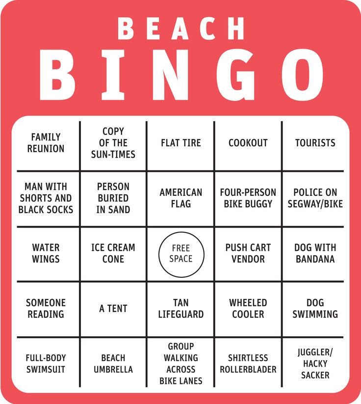 diy... make a bingo card like this layout