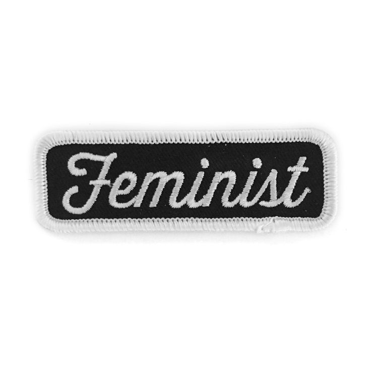"""Yes all women - Embroidered patch with merrowed edge - Iron-on adhesive backing - Measures 1"""" tall x 3"""" wide"""