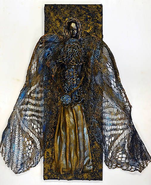 ednahandmade / anjel mosadzno modrý (dlhé krídla)