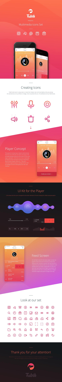 Multimedia Icons Presentation, Ui kit design by Tubik Studio