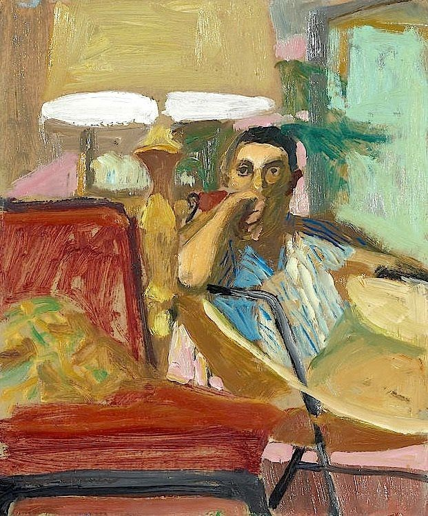 Paul Wonner (American, Bay Area figurative Movement, 1920-2008): Man seated in a chair (Christopher Isherwood), 1964.