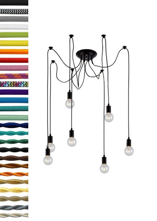 7 Swag Chandelier with any color, length, hardware and bulbs.  Modern Chandelier - Vintage Light Fixture - Modern Light - Vintage Lighting by HangoutLighting on Etsy https://www.etsy.com/no-en/listing/241423840/7-swag-chandelier-with-any-color-length