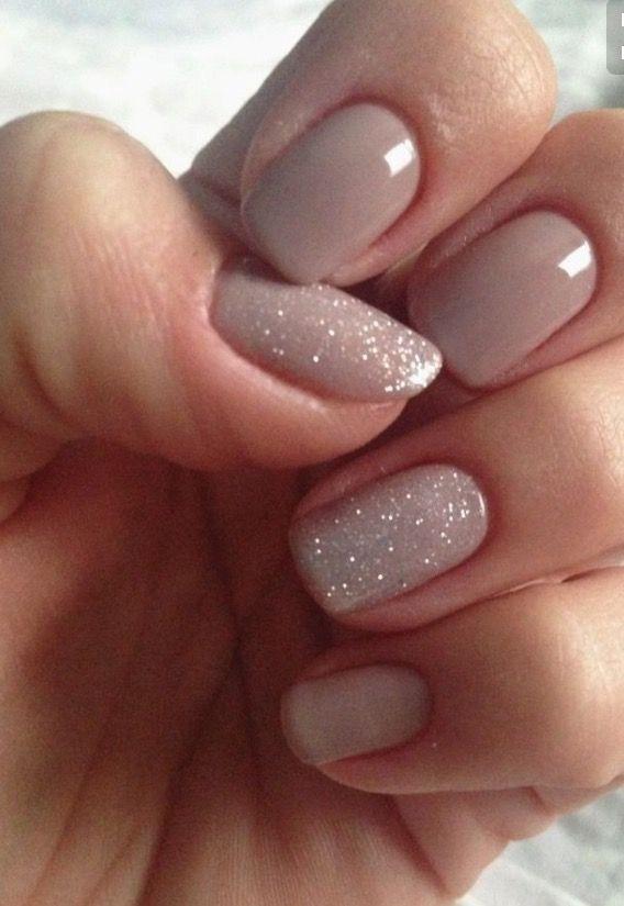 Nude/Glitter Gel Nail Design