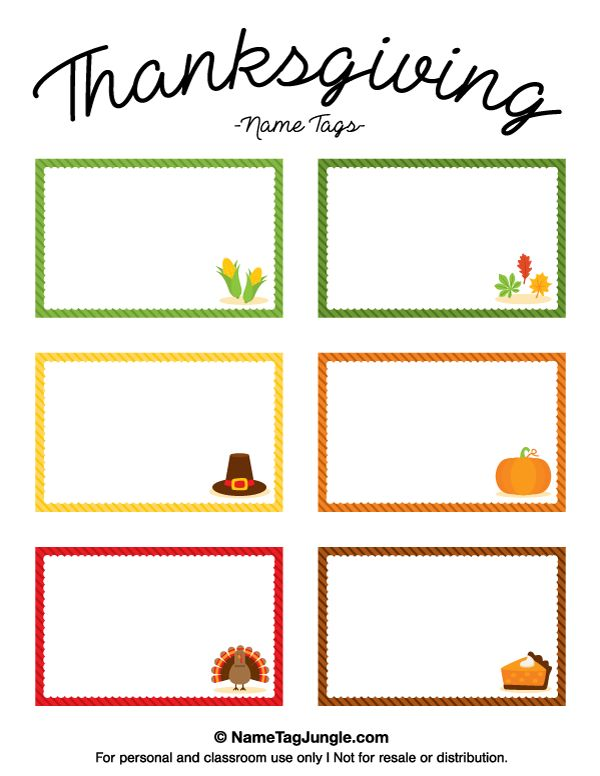 Free printable Thanksgiving name tags. The template can also be used for creating items like labels and place cards. Download the PDF at http://nametagjungle.com/name-tag/thanksgiving/