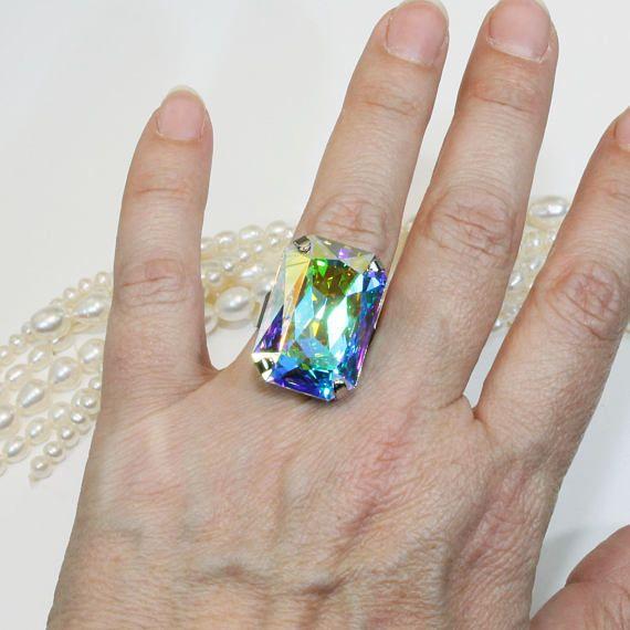 AB Ring Crystal Bridal Statement Swarovski AB Crystal Ring