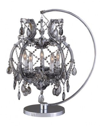 5-Light table lamp with smoke crystals and metal frame