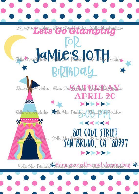 27 best kids birthday invitations images on pinterest birthday glamping tent camping sleepover slumber party printable birthday invitation filmwisefo Gallery