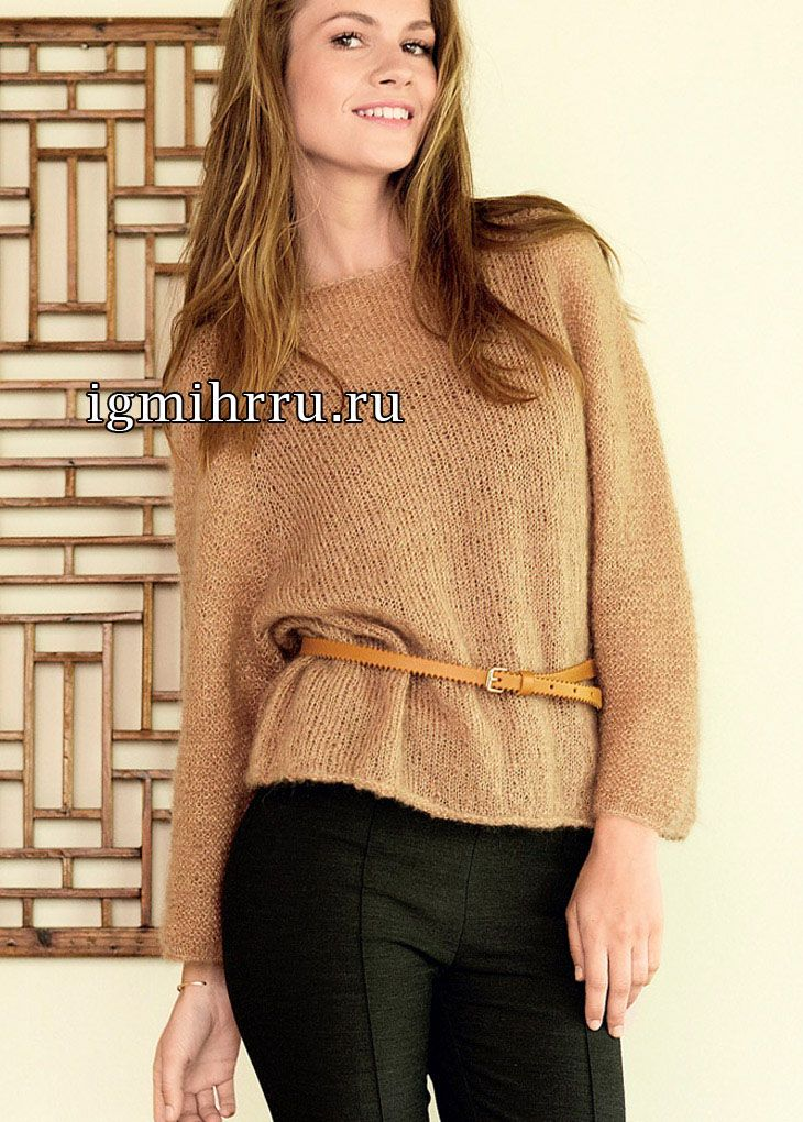 Мохеровый пуловер-реглан цвета карамели. Вязание спицами