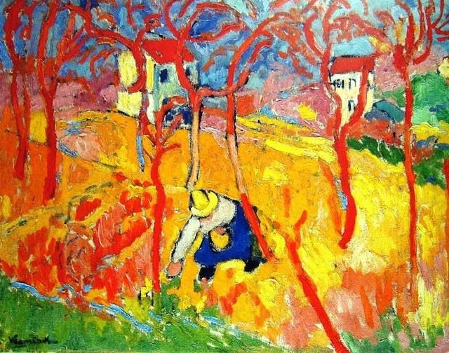 Maurice de Vlaminck. Fauvism broke some color rules!!