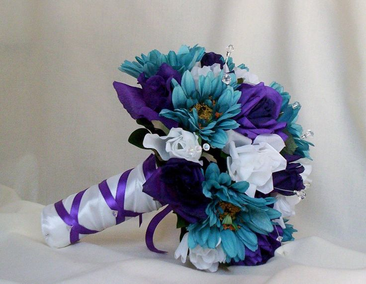 Purple And Teal Flower Bouquets Bridal Accessories Wedding Bouquet Boutonniere 2017