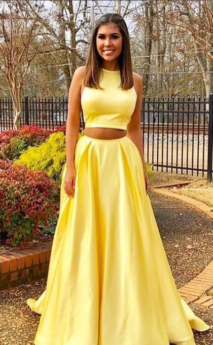 d090d89d2fd 2018 two piece yellow long prom dress graduation dress formal evening dress