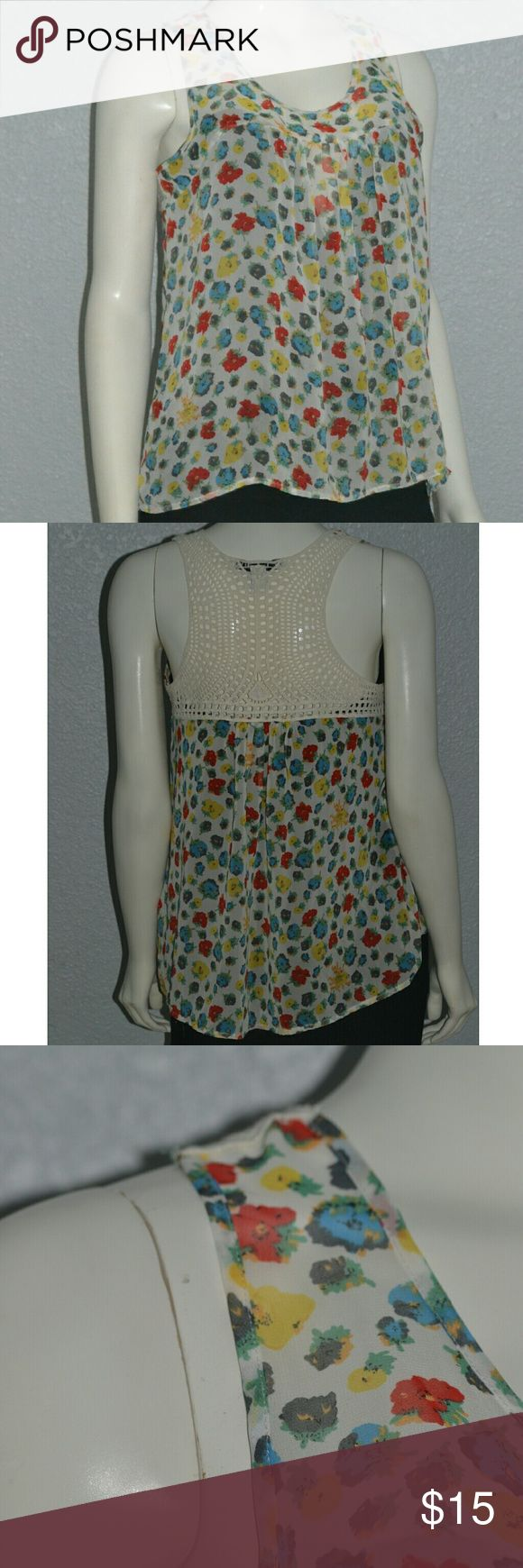 Forever 21 Floral See Through Tank Top Size Medium Forever 21 Floral See Through Tank Top Size Medium  Nice Spring And Summer Colors Blue Yellow, Red, White Crochet in back.  Made in Vietnam Rn#94981 CA#40198 100% Polyester. The under black shirt is not included!! Forever 21 Tops Tank Tops