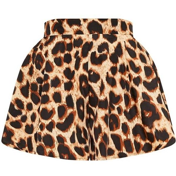 Lolita Brown Leopard Print Floaty Shorts (1,085 DOP) ❤ liked on Polyvore featuring shorts, skirts, lightweight shorts, brown shorts, leopard print shorts and leopard shorts