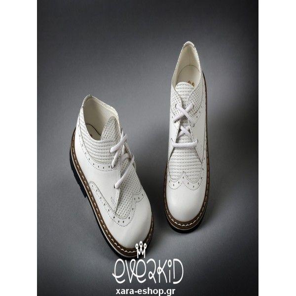 19d3b994d4 Παπούτσια βαπτιστικά αγόρι Everkid δερμάτινα λευκά οικονομικά-μοντέρνα