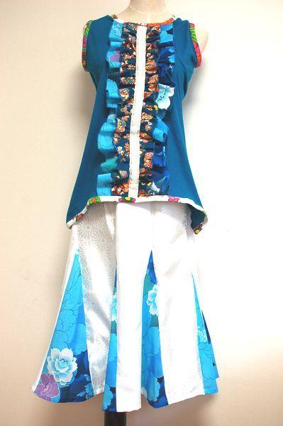 ターコイズ&ホワイト 和柄レディースフリルタンクトップ、マーメイドスカート-手作り子供服の通販店 神の手