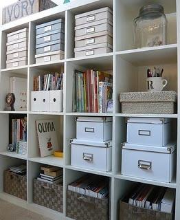 Bottom shelf- get yaffa crates and hanging file folders for scrap paper