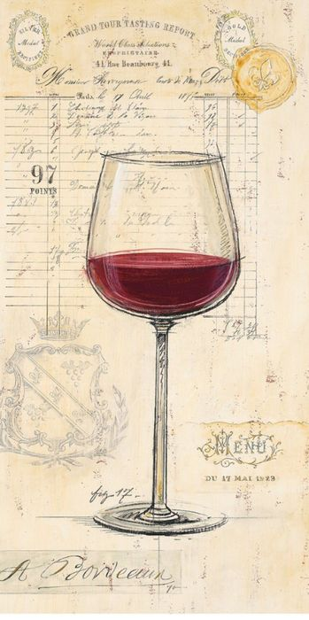 Glass of red wine on background of old french style print.