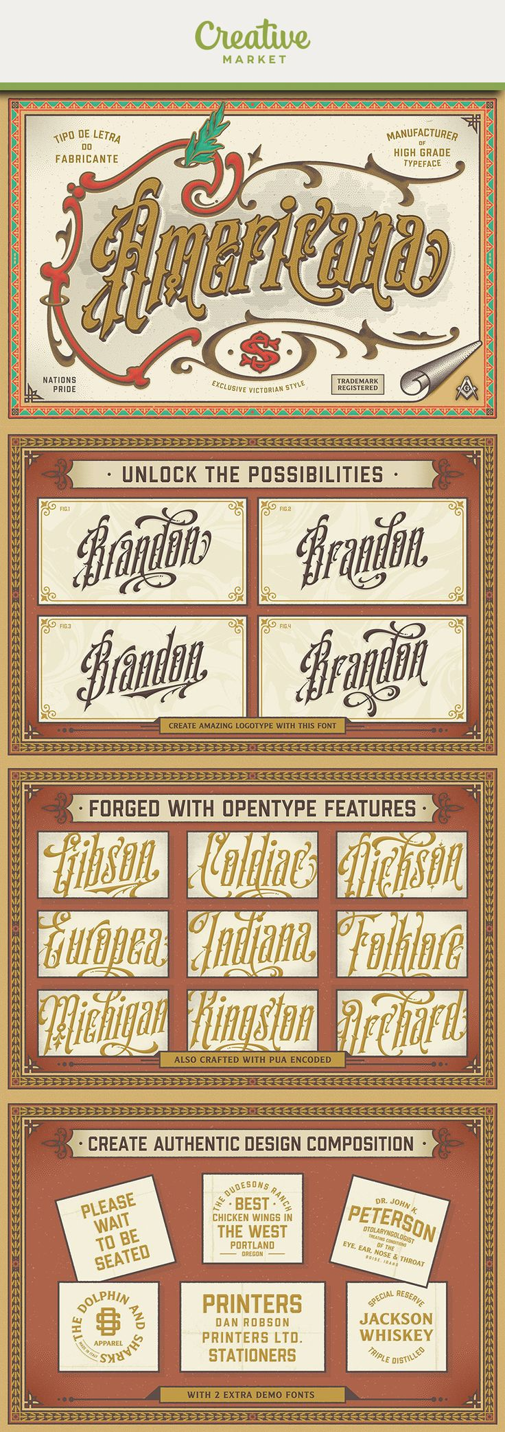 #affiliate Americana Vintage Typeface Recapture the elegance of traditional flourished sign writing and make and provide ideal lettering for period inspired design work such as posters, signage, labels and book covers. You'll find ligatures, 400+ stylistic alternates in keeping with the spirit of this pretty, old-fashioned typeface